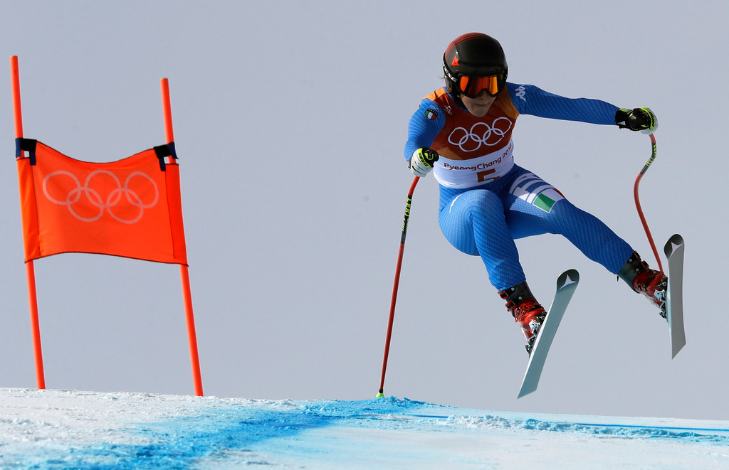 . Italy\'s Sofia Goggia competes in the women\'s downhill at the 2018 Winter Olympics in Jeongseon, South Korea, Wednesday, Feb. 21, 2018. (AP Photo/Luca Bruno)