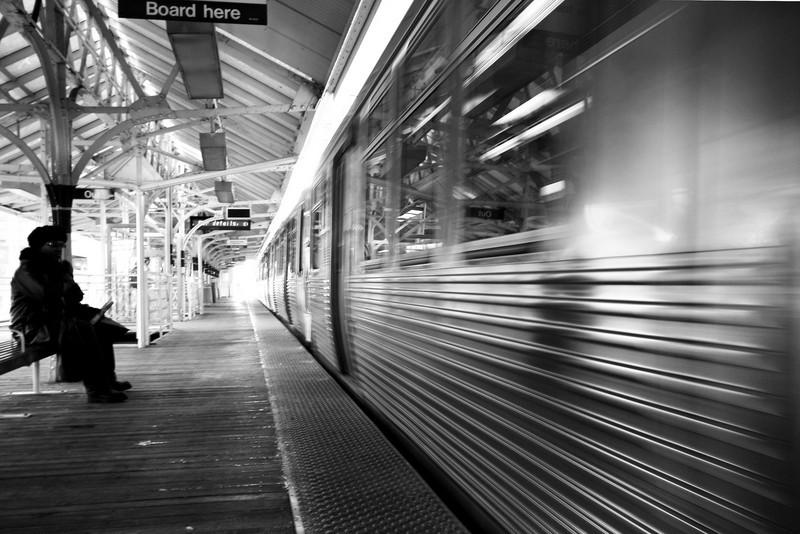 green train, brown stop