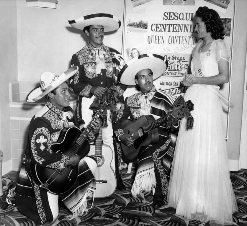 . May 25, 1947 - Rosemary Telles, who reigned as queen of the celebration, is pictured with musicians Luis Chavez, Alejo Silva and Antonio Garcia. (Oakland Tribune Staff Archives)