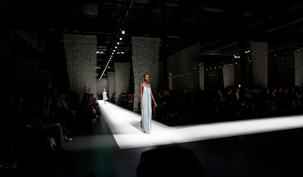 . A model wears a creation for Missoni women\'s spring-summer 2015 collection, part of the Milan Fashion Week, unveiled in Milan, Italy, Friday, Sept. 19, 2014. (AP Photo/Luca Bruno)