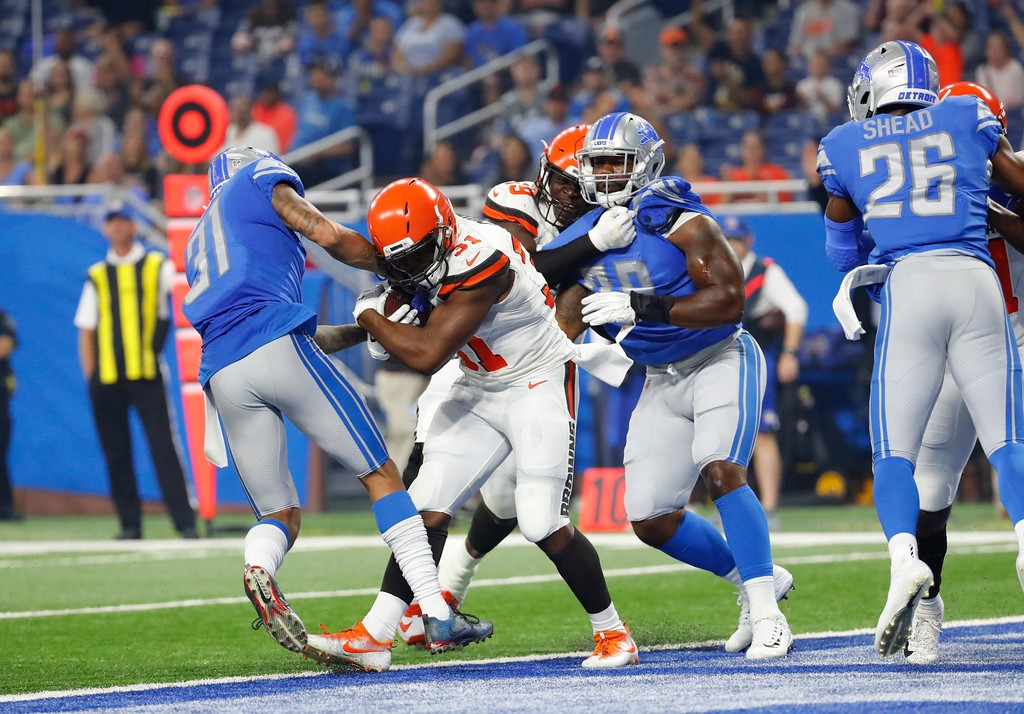 . Cleveland Browns running back Nick Chubb rushes for a 3-yard touchdown during the first half of an NFL football preseason game against the Detroit Lions, Thursday, Aug. 30, 2018, in Detroit. (AP Photo/Rick Osentoski)