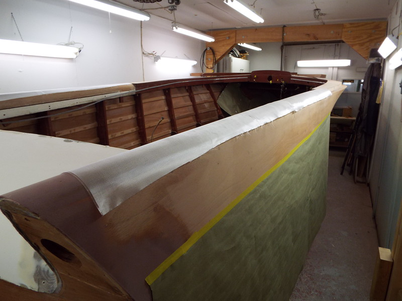 Another view of the starboard rear fin with glass cloth added.