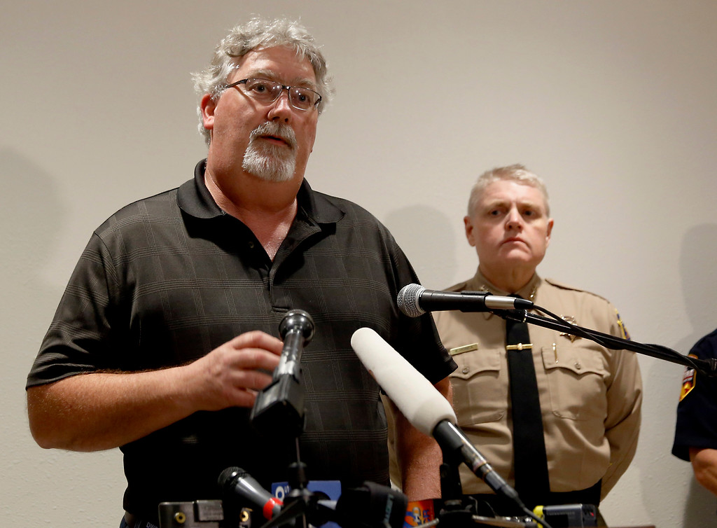. Bill Croyle, acting Director of the California Department of Water Resources, speaks during a news conference about the situation at the Oroville Dam on Sunday, Feb. 12, 2017, in Marysville, Calif. A Northern California sheriff says evacuation orders affecting thousands of people will stand until there is more information on the condition of the nation\'s tallest dam\'s emergency spillway. Croyle said officials will be able to assess the damage to the emergency spillway now that the water is no longer spilling over the top. (AP Photo/Rich Pedroncelli)