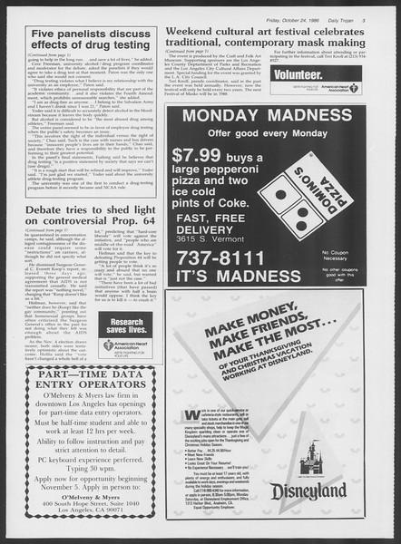 Daily Trojan, Vol. 102, No. 39, October 24, 1986