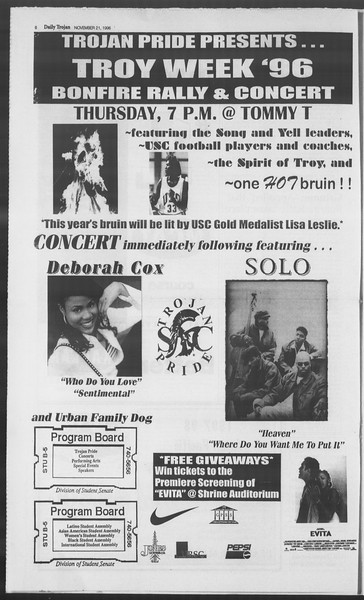 Daily Trojan, Vol. 129, No. 59, November 21, 1996