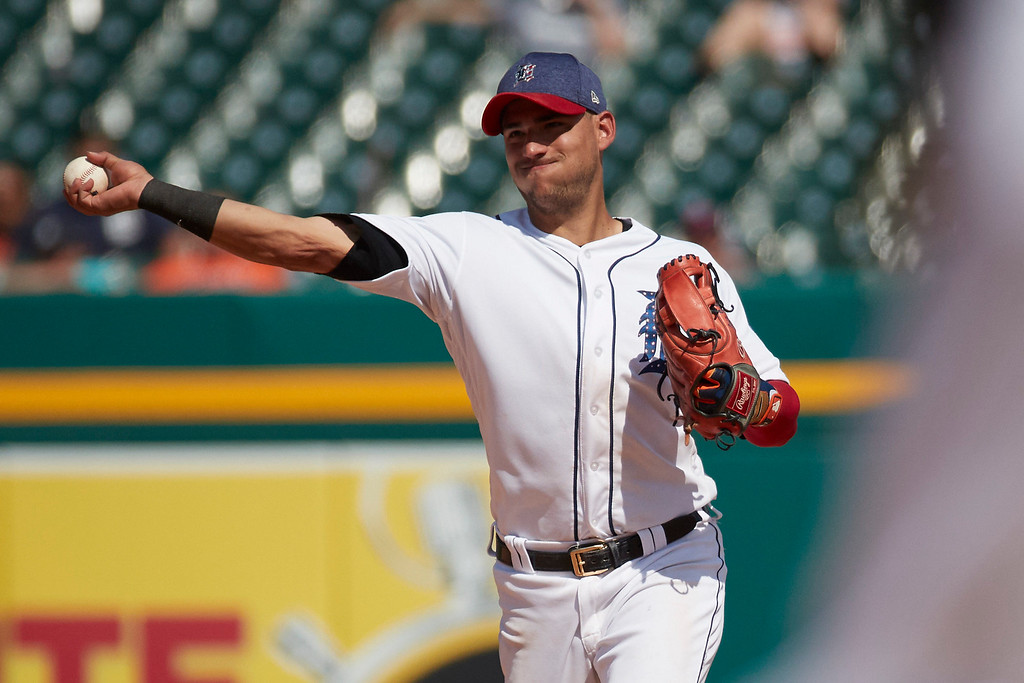 . Detroit Tigers shortstop Jose Iglesias makes a throw to first against the Cleveland Indians in the ninth inning of a baseball game in Detroit, Sunday, July 2, 2017. (AP Photo/Rick Osentoski)