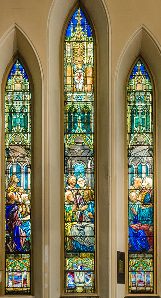 Pentecost window - Tiffany style <br> glass by Calvert & Kimberly, New York