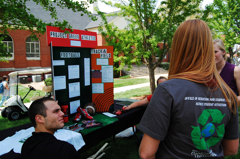 Students participate in Earth Day by setting up booths and educating fellow students by helping them take an active roll in the community