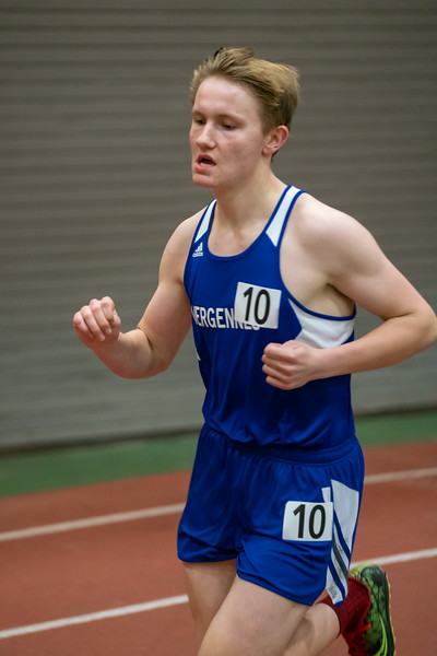 Senior Kai Williams runs the 3000. Kai finished in 8th place with a time of 10:59.73.  Vermont Division II Indoor Track State Championships - UVM Gutterson Field House - 2/16/2020