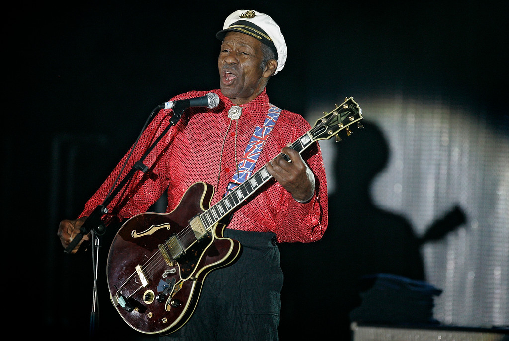 """. FILE - In this Saturday, March 28, 2009 file photo, American guitarist, singer and songwriter Chuck Berry performs during the \""""Rose Ball\"""" in Monaco. On Saturday, March 18, 2017, police in Missouri said Berry has died at age 90. (AP Photo/Lionel Cironneau)"""