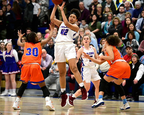 3/5/2019 Mike Orazzi | Staff St. Paul Catholic High School's Jade Udoh (42) during the Class S Quarterfinals Girls Basketball Game with Bloomfield Tuesday night.