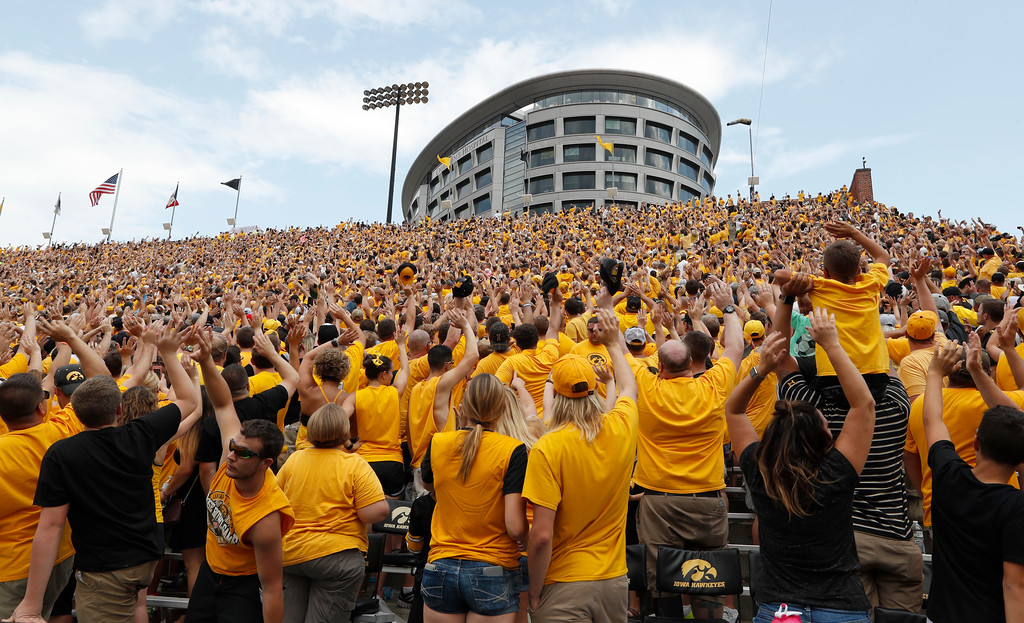 . Iowa fans wave to children in the University of Iowa Stead Family Children\'s Hospital at the end of the first quarter of an NCAA college football game against North Texas, Saturday, Sept. 16, 2017, in Iowa City, Iowa. (AP Photo/Charlie Neibergall)
