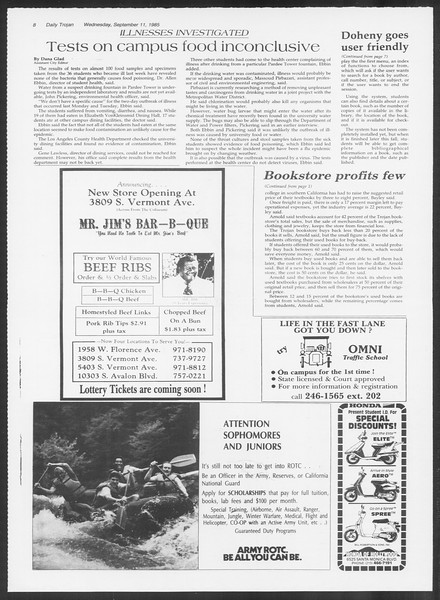 Daily Trojan, Vol. 100, No. 7, September 11, 1985