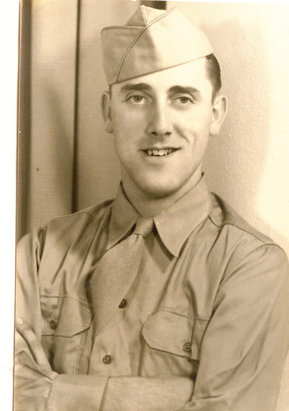 """Robert """" Bob"""" Eugene Dew (1922-1971)  Written above the photograph in the Rogers Reunion Photo Album Volume III page 37 """"Robert (Bob) Eugene Dew 1943 or 1944. Fought in the Battle of the Bulge – Germany""""."""