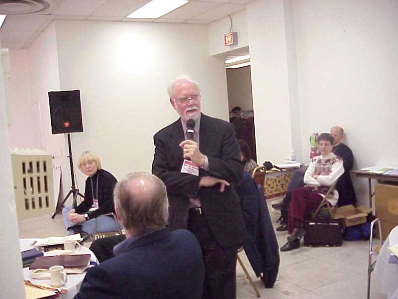 Former ELCA presiding bishop, the Rev. H. George Anderson responds to a participant question at the forum.