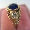 1.75ctw Cab Sapphire and Old European Cut Diamond 3-stone Ring 30