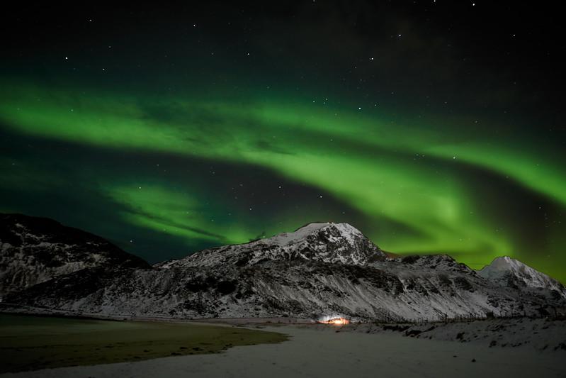 Aurora borealis in  Lofoten