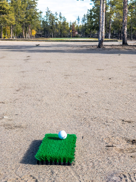 Wedge approach shot to the 3rd green, Yellowknife Golf Club