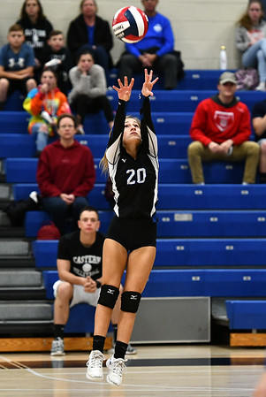 11/7/2019 Mike Orazzi | StaffrBristol Eastern's Lucy Winiarski (20) during the CCC girls volleyball tournament at Avon High School on Thursday.r