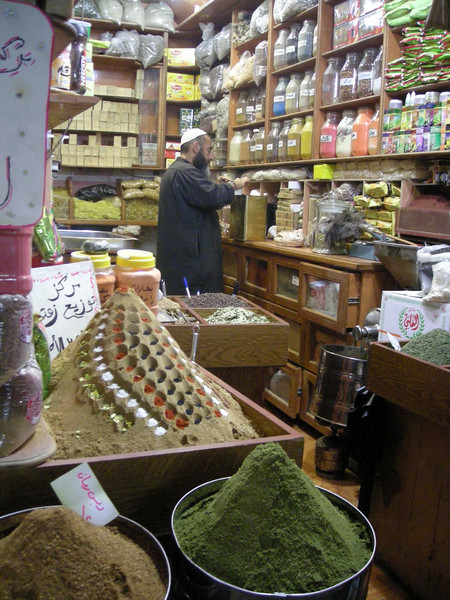 a spice shop in the souq in old Aleppo