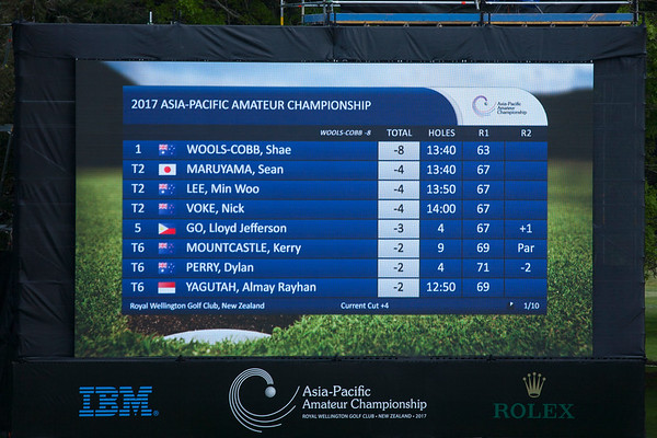 Leaderboard at 10am on the 2nd day of competition  in the Asia-Pacific Amateur Championship tournament 2017 held at Royal Wellington Golf Club, in Heretaunga, Upper Hutt, New Zealand from 26 - 29 October 2017. Copyright John Mathews 2017.   www.megasportmedia.co.nz