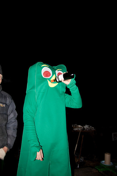 Gumby snorting wine - Halloween at Miguels Pizza and Camp Ground