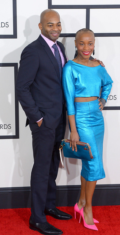. Valisia Lekae and Brandon Dickson arrive at the 56th Annual GRAMMY Awards at Staples Center in Los Angeles, California on Sunday January 26, 2014 (Photo by David Crane / Los Angeles Daily News)