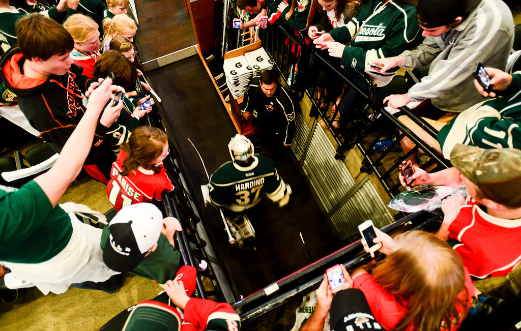 . Wild goalie Josh Harding heads to the ice before Minnesota plays the Chicago Blackhawks in Game 4 of their Western Conference quarterfinal game.  (Pioneer Press: Ben Garvin)