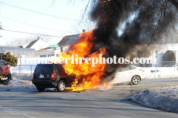 LEVITTOWN FD 3 CAR MVA & FIRE 2-13-15
