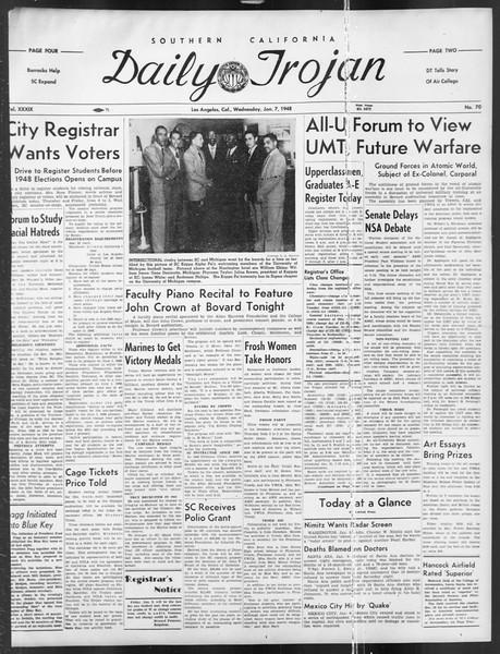 Daily Trojan, Vol. 39, No. 70, January 07, 1948