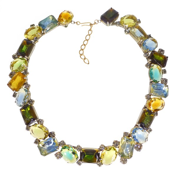 Vintage Late Mid Century Blue Green & Yellow Bi Colour Glass Cluster Collar Necklace