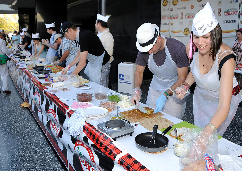 . The 11th Annual Grilled Cheese Invitational was held Saturday at the Los Angeles Center Studios, 1201 W. 5th Street, in downtown. Cheese lovers came together to sample grilled cheese sandwiches in a variety of incarnations. Los Angeles, CA 4/20/2013(John McCoy/Staff Photographer