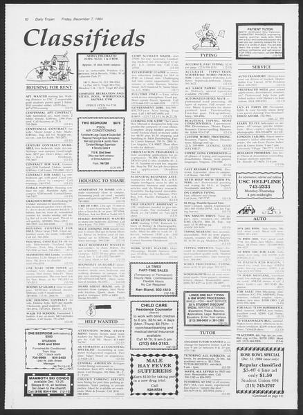 Daily Trojan, Vol. 97, No. 65, December 07, 1984