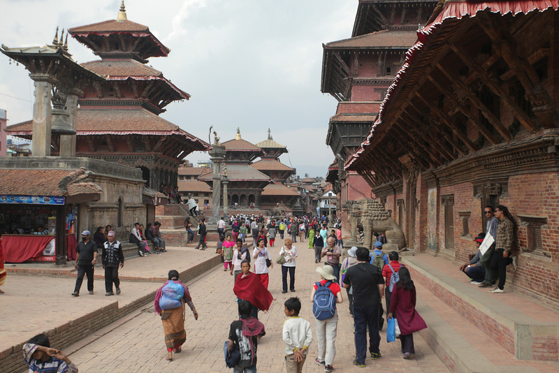 Patan Darbar Square, on the outskirts of Khatmandu. Darbar squares were the center of ancient city states throughout Nepal.