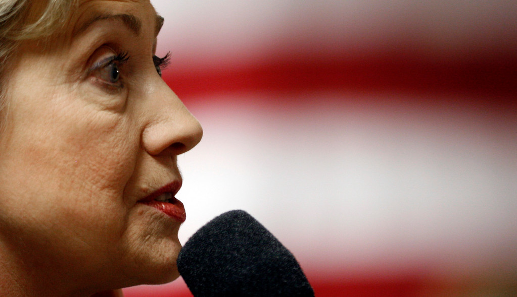 . Democratic presidential hopeful Sen. Hillary Rodham Clinton, D-N.Y., speaks during a campaign stop at Lawton-Bronson High School in Lawton, Iowa, Thursday, Dec. 27, 2007.   (AP Photo/LM Otero)