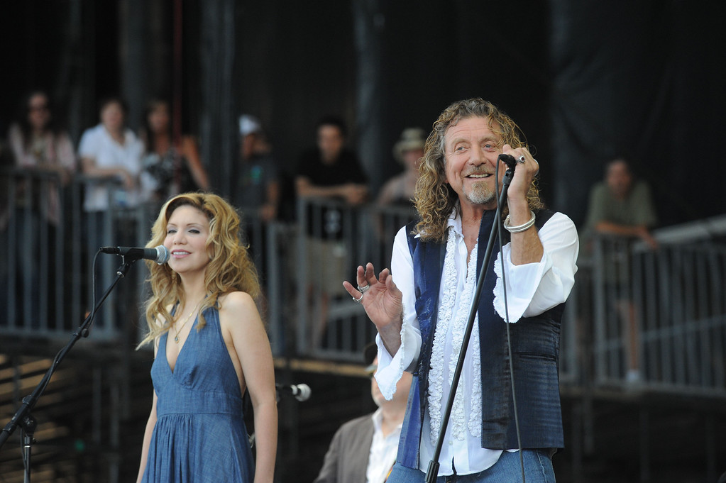 . MANCHESTER, TN - JUNE 15:  Alison Krauss and Robert Plant perform during day four of the 2008 Bonnaroo Music and Arts Festival on June 15, 2008 in Manchester, Tennessee.  (Photo by Jeff Gentner/Getty Images)