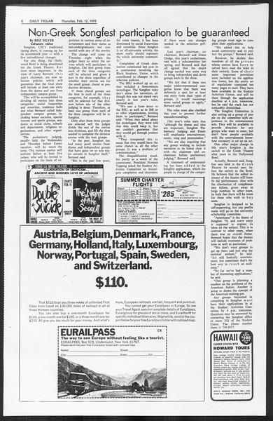Daily Trojan, Vol. 61, No. 72, February 12, 1970