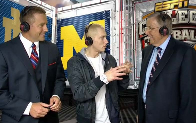 """. <p>6. (tie) EMINEM & BRENT MUSBURGER  <p>You are looking live at a couple of heavily medicated fellows. (2) <p><b><a href=\'http://college-football.si.com/2013/09/07/eminem-musberger-herbstreit-espn/\' target=\""""_blank\""""> HUH?</a></b> <p>   (ESPN photo from YouTube)"""