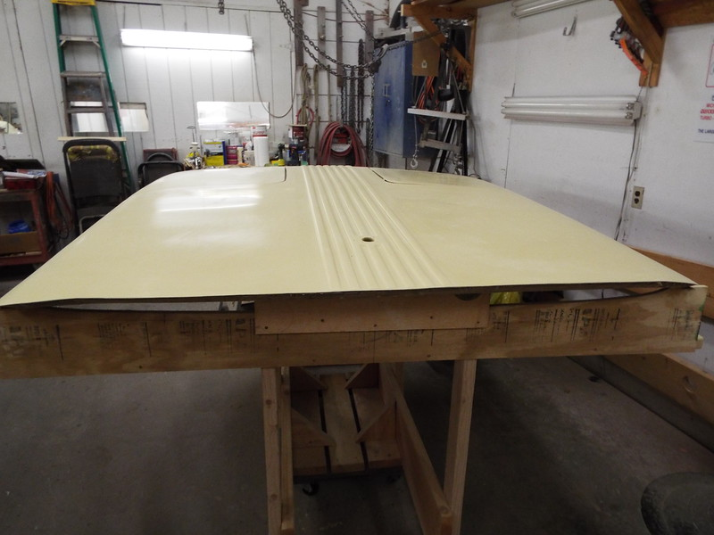 Rear view of the top with repairs completed, primed, wet sanded ready for paint.