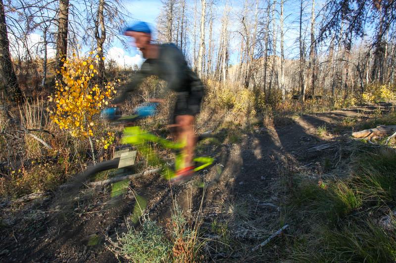 Drew blurs by on his way down Sullivan Creek.