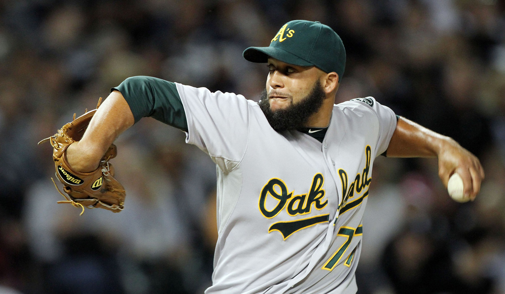 . Jordan Norberto, free-agent pitcher, formerly with the Oakland Athletics.  (Photo by Tasos Katopodis /Getty Images)