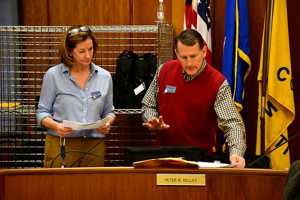 11/7/2019 Mike Orazzi | StaffrRegistrars of Voters' Sharon Krawiecki and Kevin McCauley during the citywide recount on Thursday at Bristol City Hall. rr