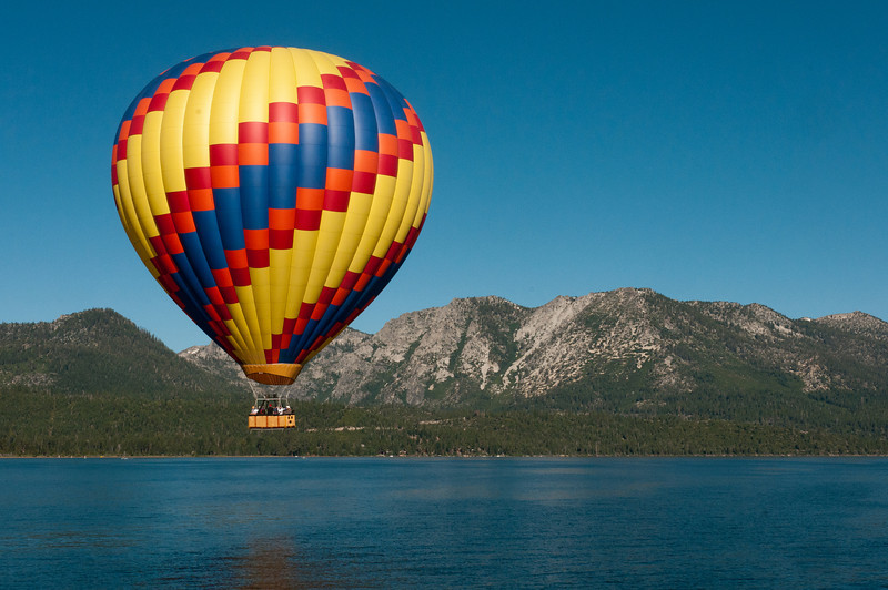 Hot air balloon with Sierra Nevada Mountains in Lake Tahoe, Nevada