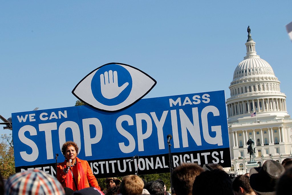 . Laura Murphy, Director of the Washington Legislative Office of the American Civil Liberties Union (ACLU), speaks during a rally outside of the U.S. Capitol to demand that Congress investigate the NSA\'s mass surveillance programs on Saturday, Oct. 26, 2013, in Washington.  ( AP Photo/Jose Luis Magana)