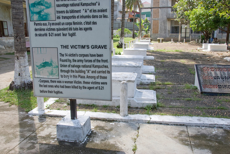 A grave site outside of the Toule Seng Prison in Phnom Penh, Cambodia