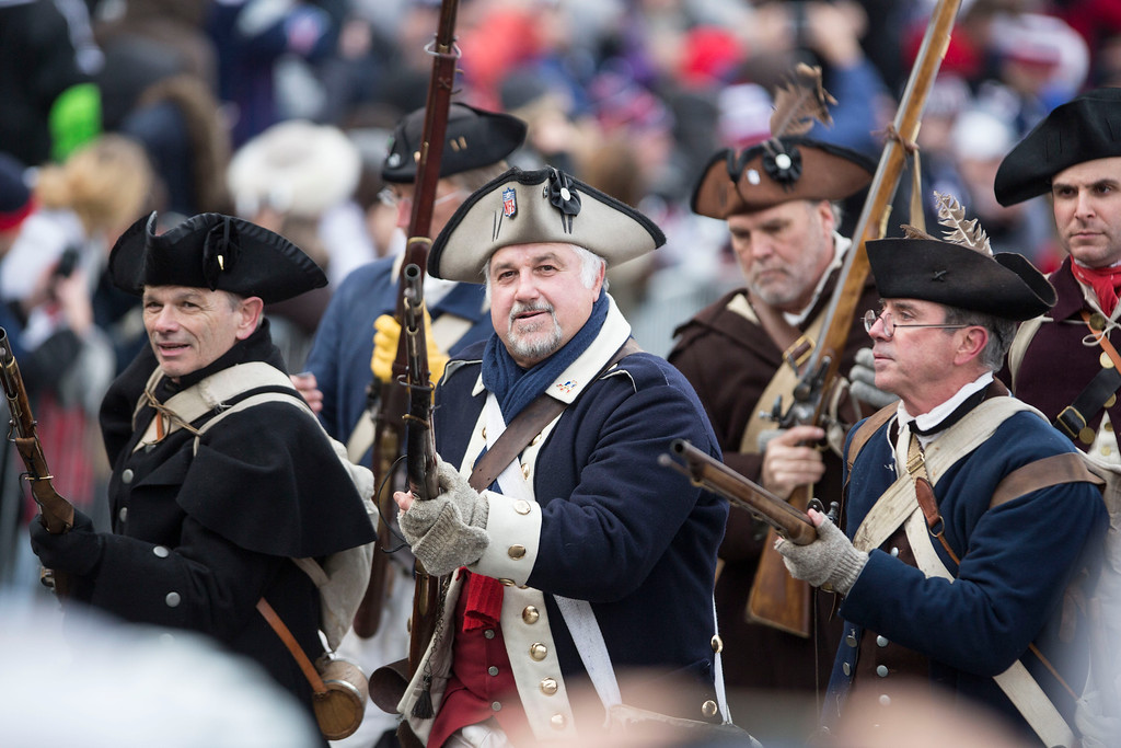 ". New England Patriots ""End Zone Militia\"" attend the New England Patriots victory parade on February 4, 2015 in Boston, Massachusetts. (Photo by Scott Eisen/Getty Images)"