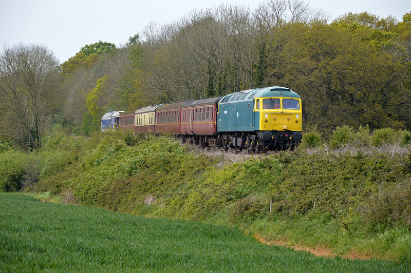 47367 tnt 47596 on a Dereham-Wymondham Halt at Wicklewood on the MNR.
