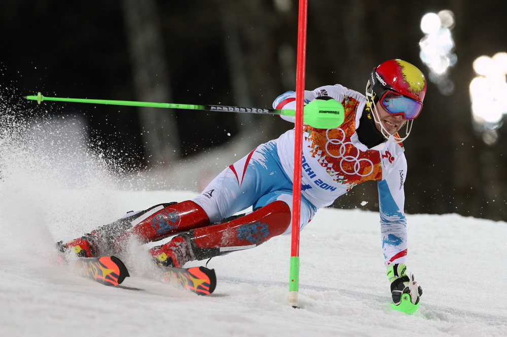 . Austria\'s Marcel Hirscher skis in the second run of the men\'s slalom to win the silver medal at the Sochi 2014 Winter Olympics, Saturday, Feb. 22, 2014, in Krasnaya Polyana, Russia. (AP Photo/Luca Bruno)
