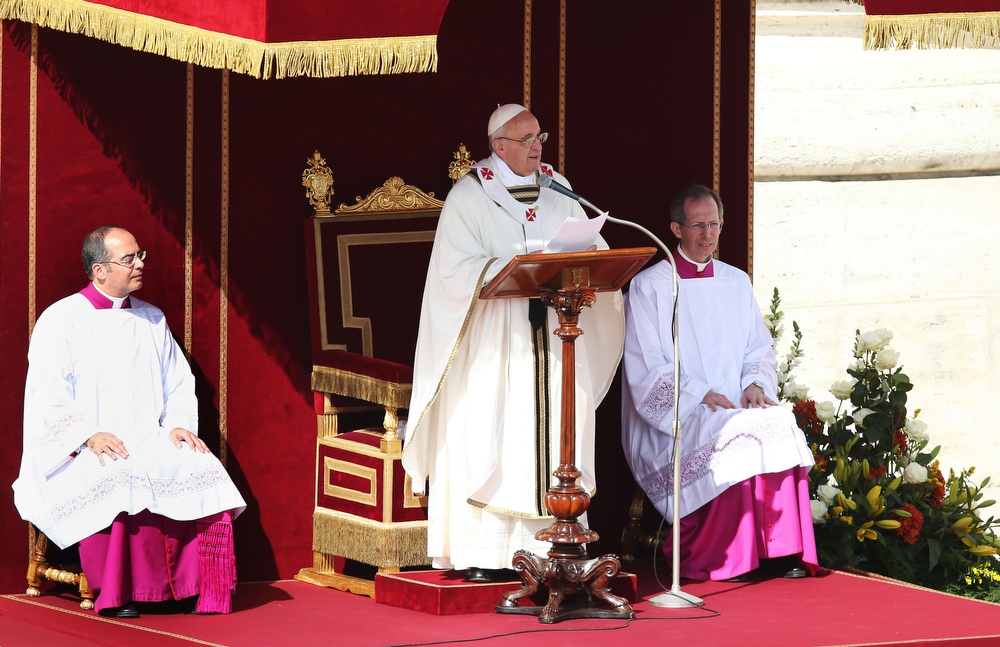 . Pope Francis speaks during his Inauguration Mass in St Peter\'s Square on March 19, 2013 in Vatican City, Vatican. The mass is being held in front of an expected crowd of up to one million pilgrims and faithful who have filled the square and the surrounding streets to see the former Cardinal of Buenos Aires officially take up his role as pontiff. Pope Francis� inauguration takes place in front of Cardinals and spiritual leaders as well as heads of state from around the world.  (Photo by Dan Kitwood/Getty Images)