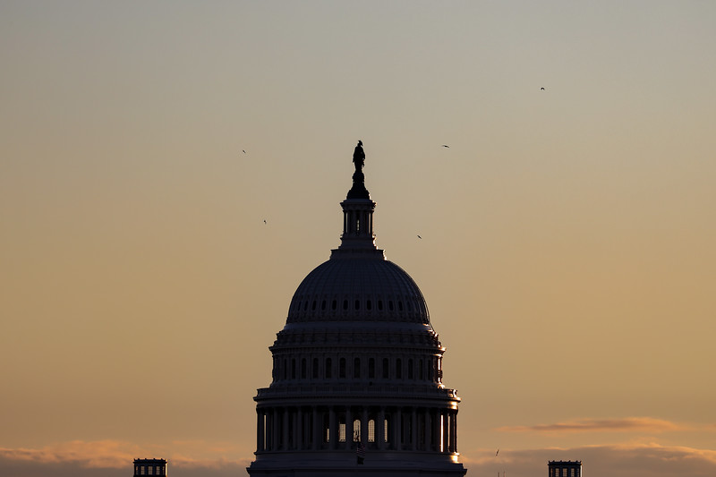 Sunrise over U.S. Capitol on inauguration day